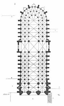 Planta de Salón. Que carece de crucero de brazos salientes (aunque no deja de ostentarse más o menos la simbólica cruz de enmedio#arte#gotico