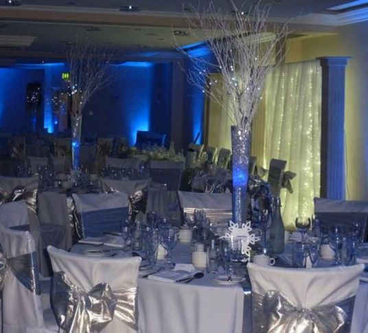 White Royal Blue And Silver An Idea Of Some The Chair Table Covers At Weddi Mending Dr Steele Wedding We Ve All Been Waiting For In