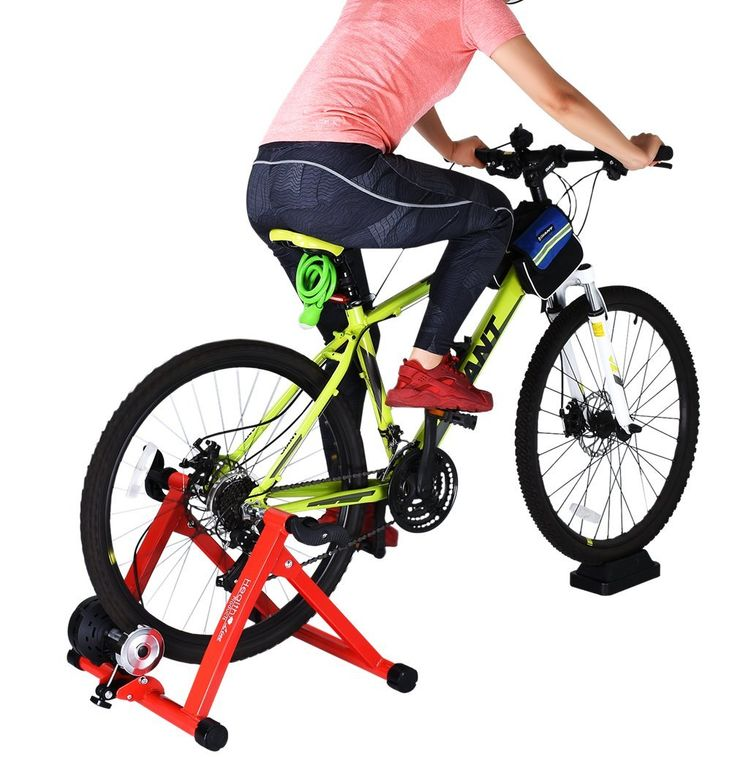 8 Levels Magnetic Resistance Indoor Bike Trainer,Fits 26-28 inch 700c Bicycle Exercise Trainer Stand w Front Wheel Block and Quick Release Skewer
