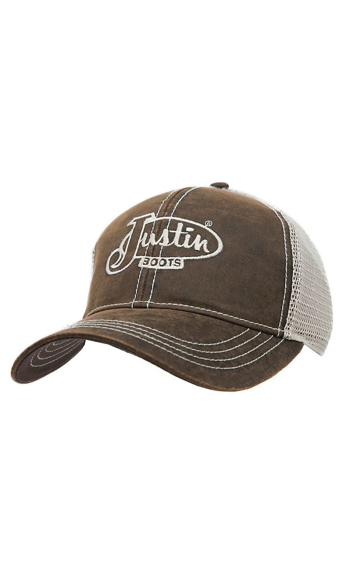 Justin Boots® Brown Oilcloth with Cream Mesh Back Logo Cap