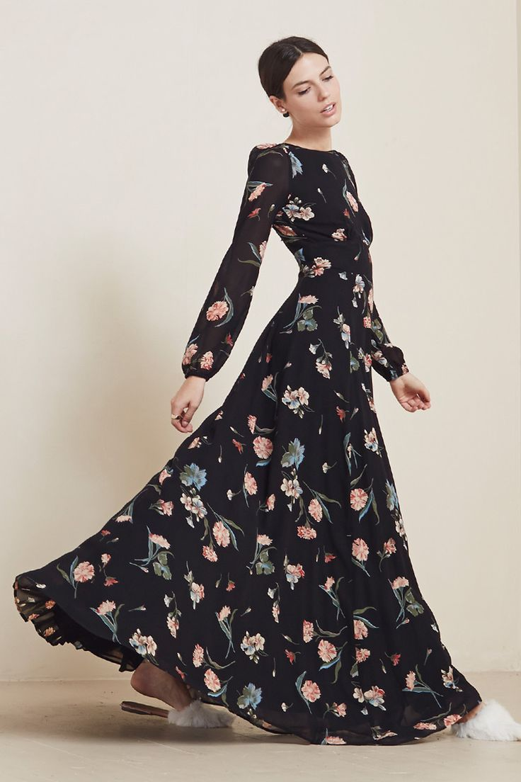 pretty wedding party dress. long and floral from reformation.