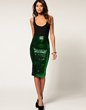 I saw someone wearing this ASOS emerald green sequin pencil skirt & it's truly awesome. See it on my blog: http://katealamode.wordpress.com/2012/01/01/in-which-our-heroine-learns-she-must-start-a-blog/