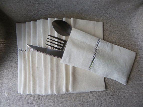 10 pochettes,étuis,à couverts,coton naturel, linge de table, diner, chic, écru,linge ancien