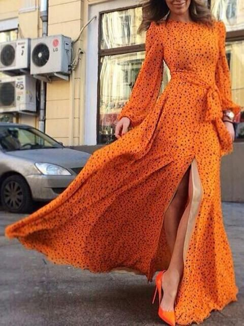 Choies Limited Edition Clockwork Orange Star Print Slit Maxi Dress | Choies