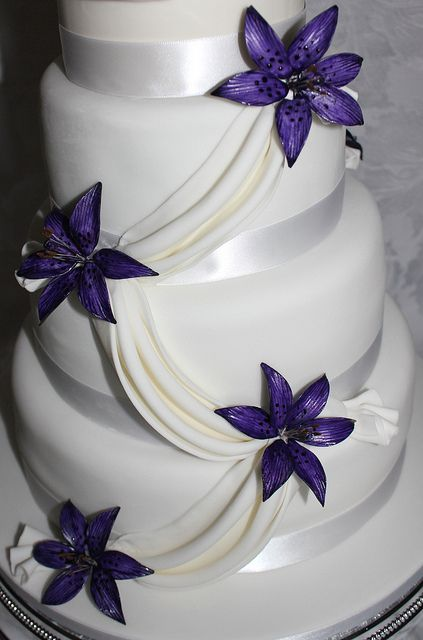 Purple lily wedding cake! by Pauls Creative Cakes, via Flickr
