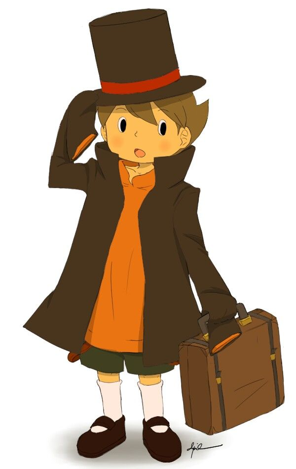 Awwwww, Luke is wearing Professor Layton's clothes to dress up as him! So cute!