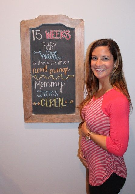 15 week pregnancy chalkboard tracker.