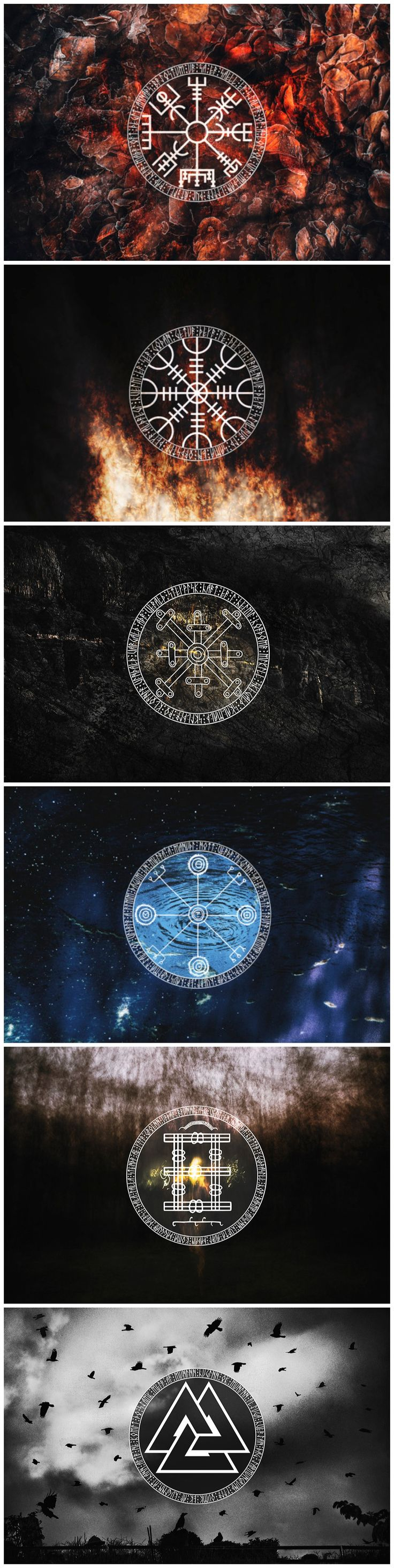 The complete Icelandic staves symbol series. Each artwork is representing an element. They are presented here in the following order : fire, earth, metal, water, wood and air. The symbols are accompanied by stanzas of the Hávamál or Völuspá, written in runes.