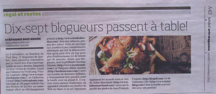 Le journal Le Soleil qui parle du projet Fou des foodies (avec photo de ma poutine)
