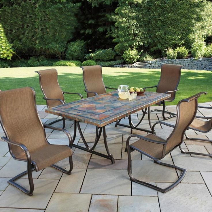 Fabulous Agio Patio Furniture With 6 Chairs Brown