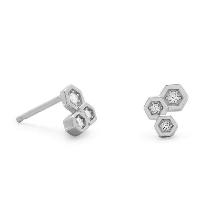 Triple Hexagon Zilveren Oorbellen met Zirkonia