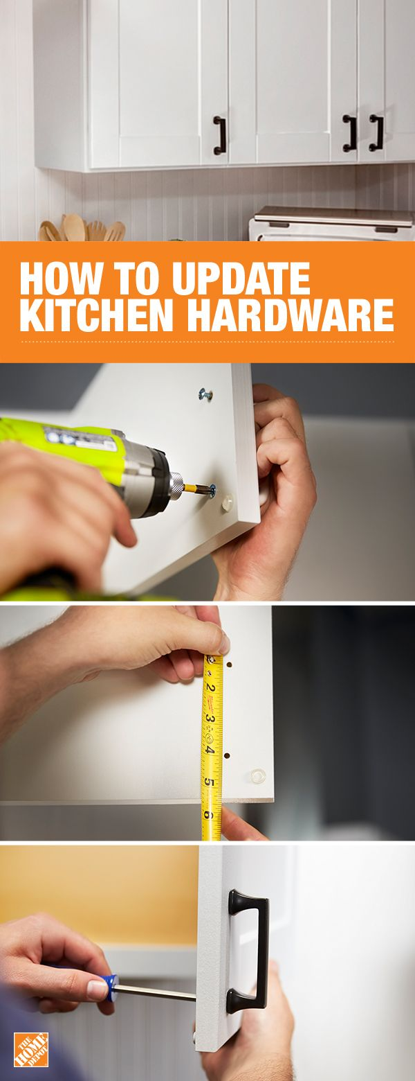 One of the easiest ways to give your kitchen cabinets a facelift is to change out the hardware. For easier installation, choose new hardware with the same spread as your old hardware. For a more detailed step-by-step, click through to The Home Depot blog.