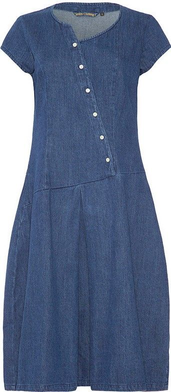 The Tulip Denim Dress  Part of Kiraku's Garden Clothing co's collection Launched at The Royal Horticultural Society Hampton Court Flower Show. Inspired by the Perennial Beauty of Tulips with an Asymmetrical Neckline and Waste Line and Perfectly Fitting  Bell Shape Skirt. Crafted from 10oz High Quality Heavy Weight Denim.
