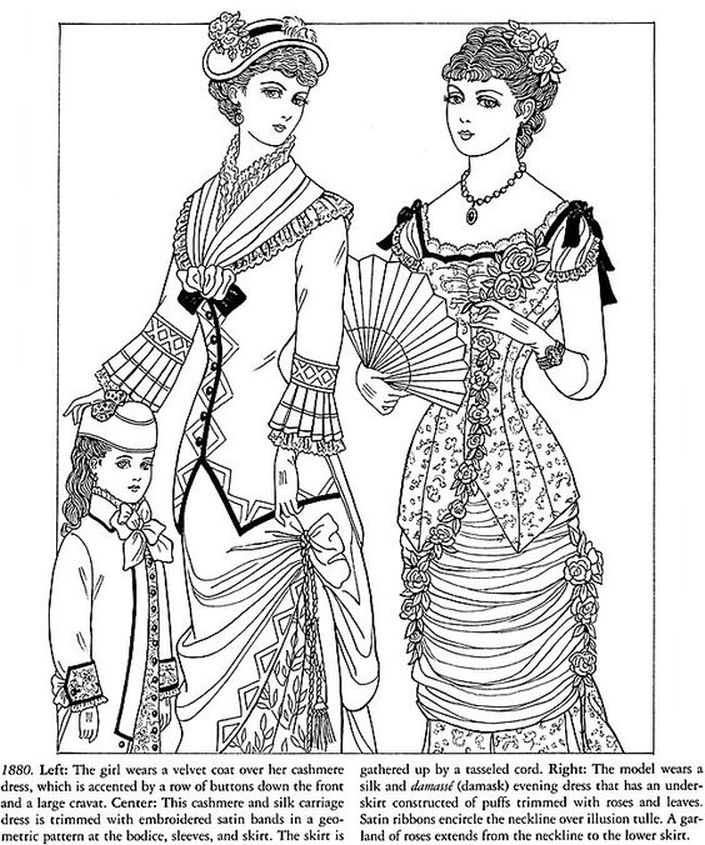 victorian ladies advanced coloring pages printable - Fashion Coloring Books