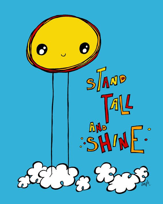 Stand Tall and Shine | Cute sun and cloud illustration | treemanJAKE
