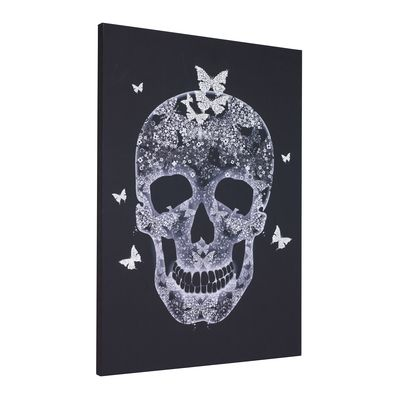 Add a touch of  dark glamour to a room with a hand painted skull with butterflies decorating a high quality giclee canvas in stark black.
