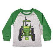 Toddler Boy John Deere Front & Back Tractor Graphic Raglan Tee