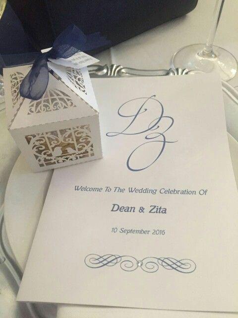 Wedding favour and program -Wedding favours are alfajores