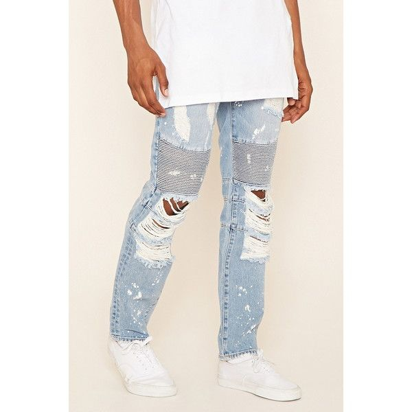 Forever 21 Men's  Reason Destroyed Moto Jeans ($98) ❤ liked on Polyvore featuring men's fashion, men's clothing, men's jeans, mens distressed jeans, mens jeans, mens bleached jeans, mens ripped jeans and mens skinny jeans