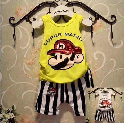 Hu Sunshine wholesale new 2014 Summer boys Mario cartoon print t-shirt + stripe shorts clothing set kids clothes sets 2pcs suits $38.50