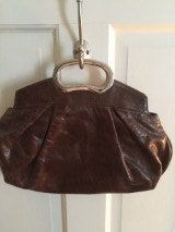 Brown Clutch Bag 80s/90s Cut Out Metal Handle by CongenialVintage