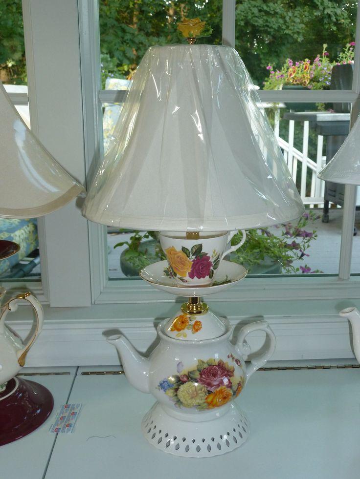 Yellow, Red & White Rose Teapot Lamp