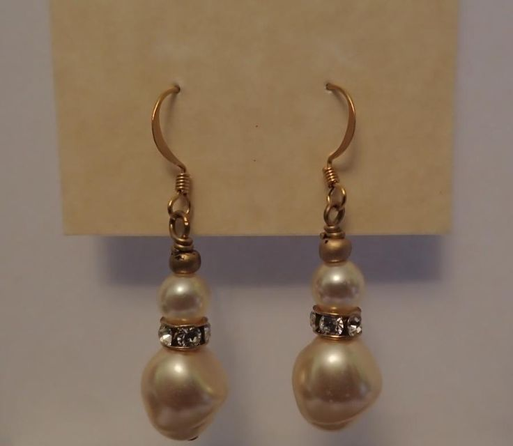 Recycled Old Free form Pearl Drop Earrings by Really Keen Jewelry