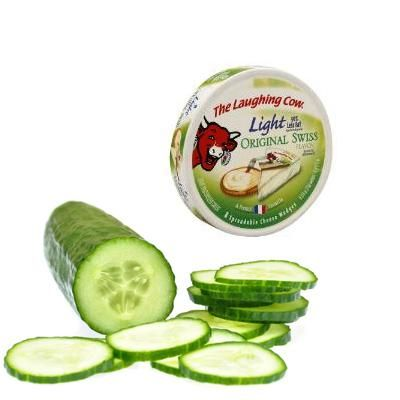 I love laughing cow cheese...but I usually eat it with pita crackers...will try with cucumber now - Yum!