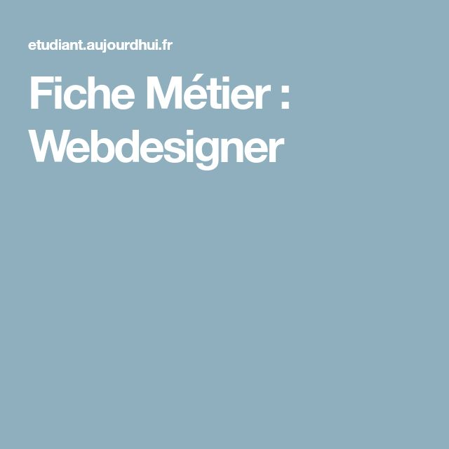 Fiche Métier : Webdesigner