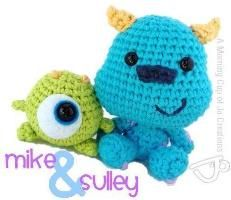 Baby Mike & Sulley from Monsters Inc - Free Amigurumi Patterns