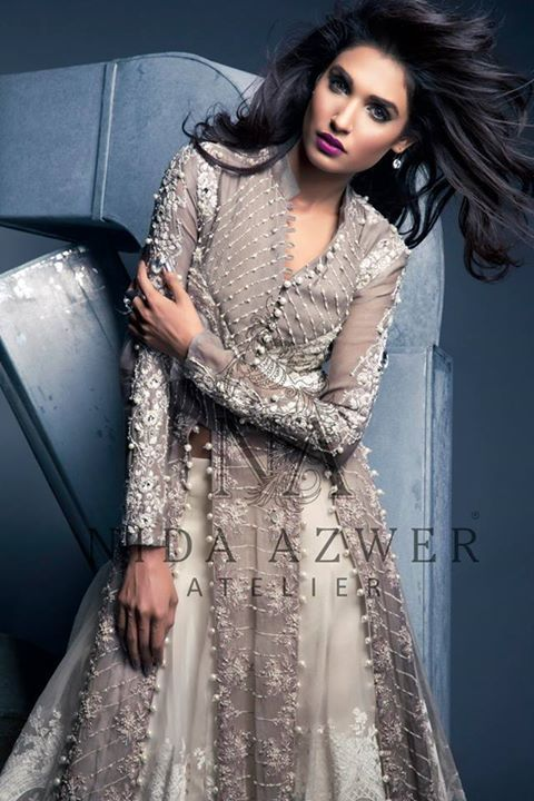 Nida Azwer Formal Wear Collection 2015, Pakistani Designer Formal Wear Dresses 2015, Pakistani fashion dresses 2015, evening wear formal dresses,