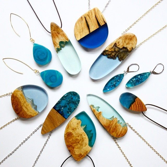 Pendants and earrings by Britta Boeckmann of Melbourne, Australia. Scrap wood, resin, vatnish.