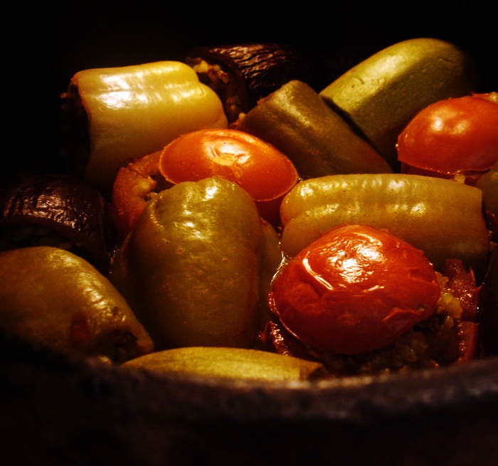 libyan food: Mixed Stuffed Vegetables: Tajin Mahshi. Made this with my friend once and it's so delicious and easy!