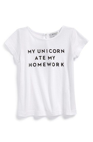Free shipping and returns on Milly Minis 'Unicorn Ate My Homework' Tee (Little Girls & Big Girls) at Nordstrom.com. She'll get points for creativity with the cheeky slogan emblazoned on a soft, lightweight scoop-neck tee.