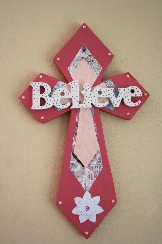Believe Beautiful Wooden Cross by MarysStitchShop on Etsy, $23.00