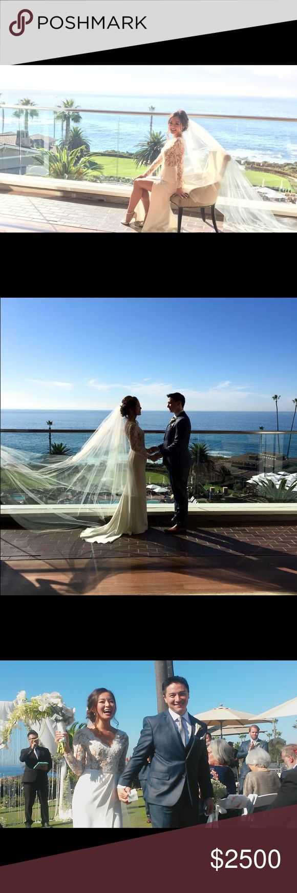 My wedding day ❤️️ The best day of my life just happened 11-13-16 at the Montage Laguna Beach.  I am selling my wedding dress, veil and wedding shoes.  But for now, please enjoy a little glimpse of our special day!  Message me if you're interested!  It's in the dry cleaning now, but will post once it comes back!  This was a custom gown designed by me!  There will only be this one in the world with French illusion lace with nude mesh lining on top, Italian crepe draped skirt lined w/ silk…
