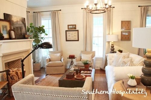 Neutral textured living room, Southern Living Idea house via Southern Hospitality.