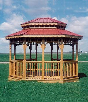 10x12 gazebo with metal roof and benches