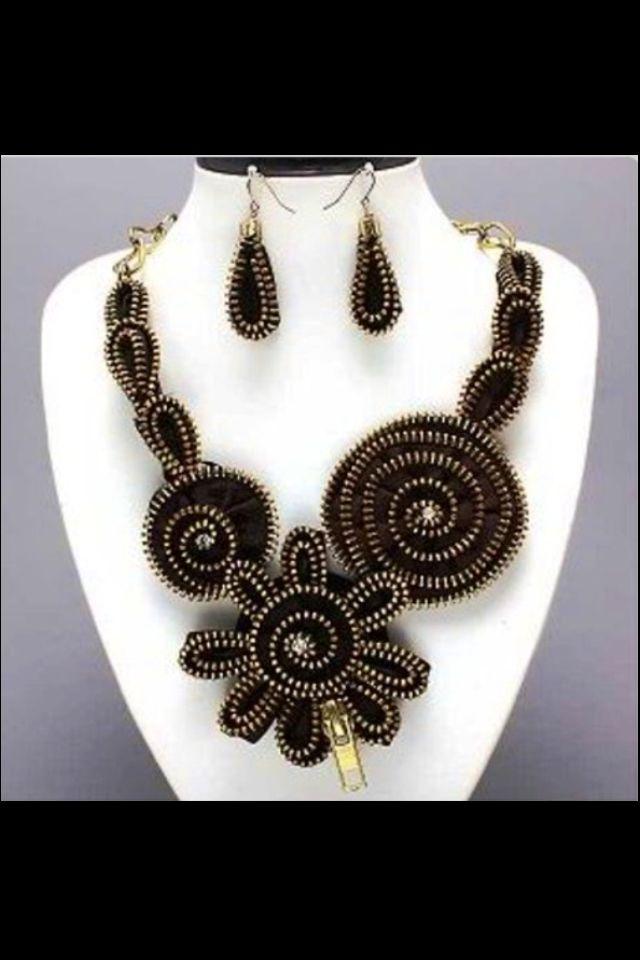 Recycle zipper art necklace earring set rose flower