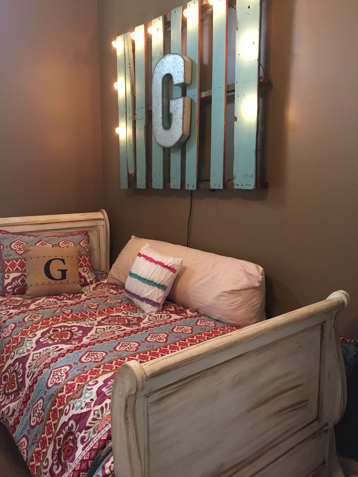 Chalk painted sleigh bed