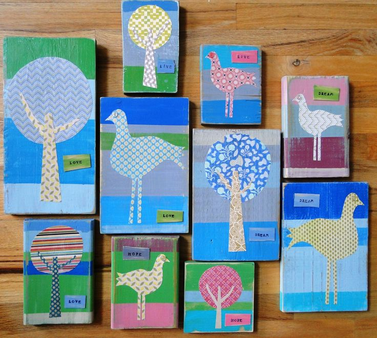 Love the idea of making block art with paint, fabric and