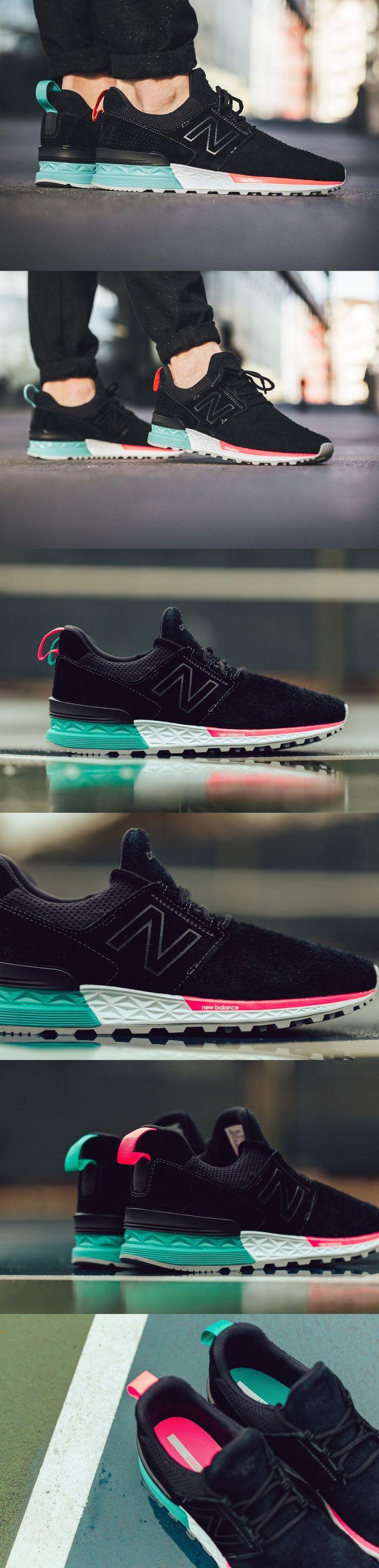 #New #Balance 574 #Sport #Suede #Black #Tidepool