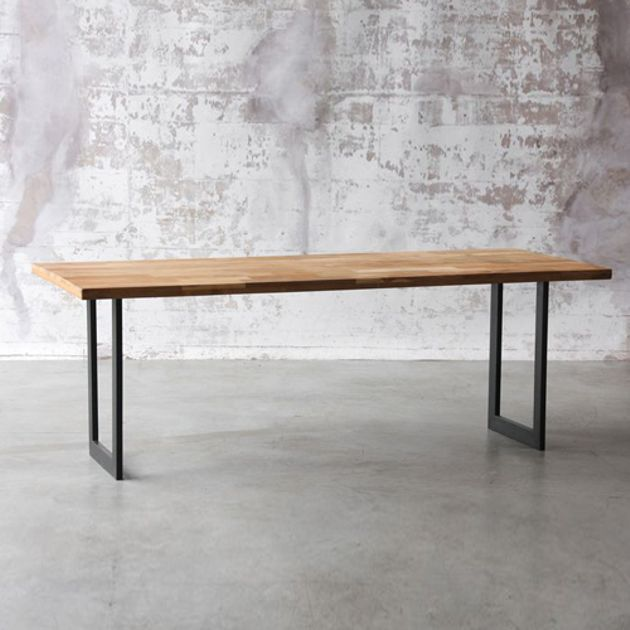 Table A Manger Rectangulaire En Acier Et Teck Naturel Gm Table A Manger Rectangulaire Table Rectangulaire Bois Table A Manger En Teck