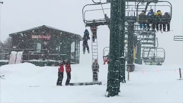 Raw: Child Rescued After Dangling From Ski Lift