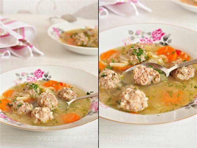 Вкусная пауза - Суп с фрикадельками и овощами.