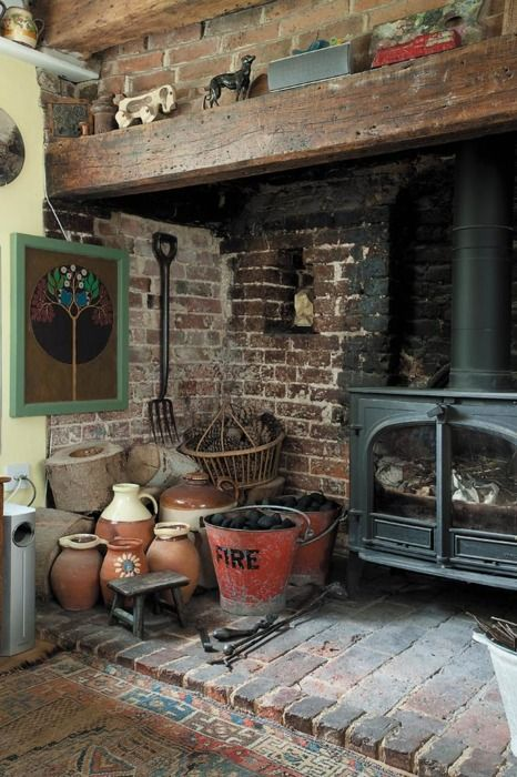 """No, I don't want a coal stove, but this """"corner"""" could play out with a nice wood stove."""