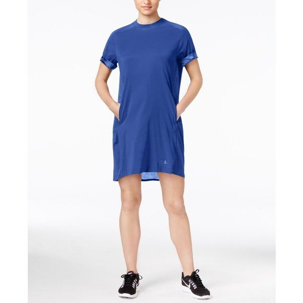 Nike Bonded Sportswear Dress ($42) ❤ liked on Polyvore featuring dresses, game royal, sporty dresses, nike dress, white day dress, white dress and nike