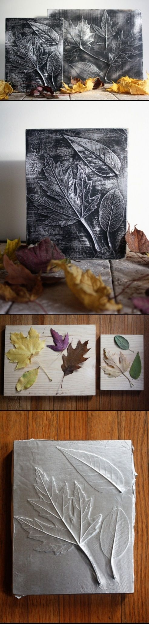 DIY Leaf Decor - DIY Picture. These are so cool! BTW, check out this FREE AWESOME ART APP for mobile: http://artcaffeine.imobileappsys.com/start.php?adlink=1 Get Inspired!!!
