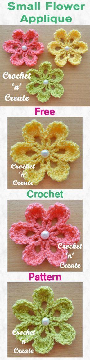 Free crochet pattern for small flower applique. #crochet