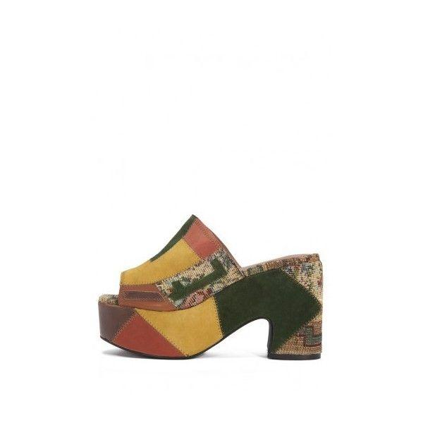 Devorah via Polyvore featuring shoes, sandals, platform slide sandals,  slide sandals, patchwork